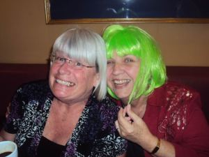 Susie and Karen.  We made Karen wear a wig for the party.  I think she liked it!